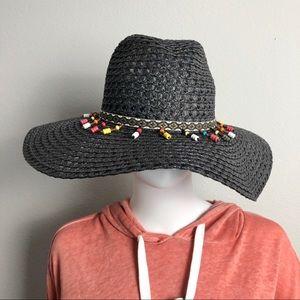 Wide Floppy Hat Black Beaded Beach Hat Sun Hat